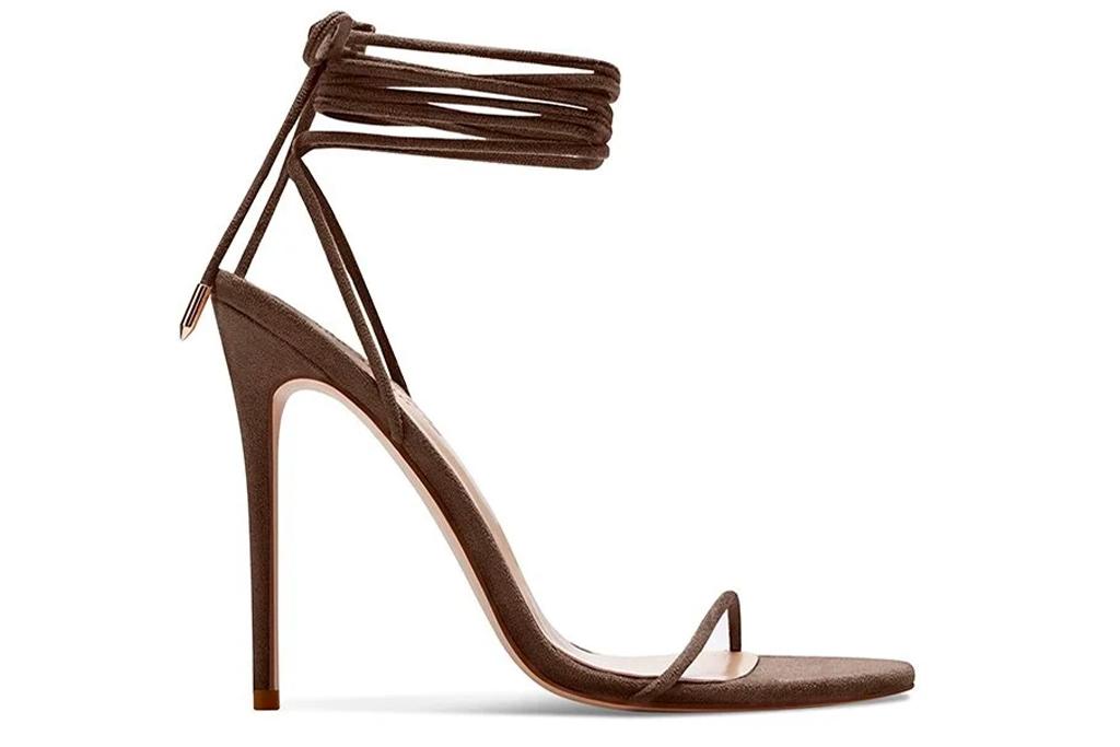 femme la, heels, wrap, brown