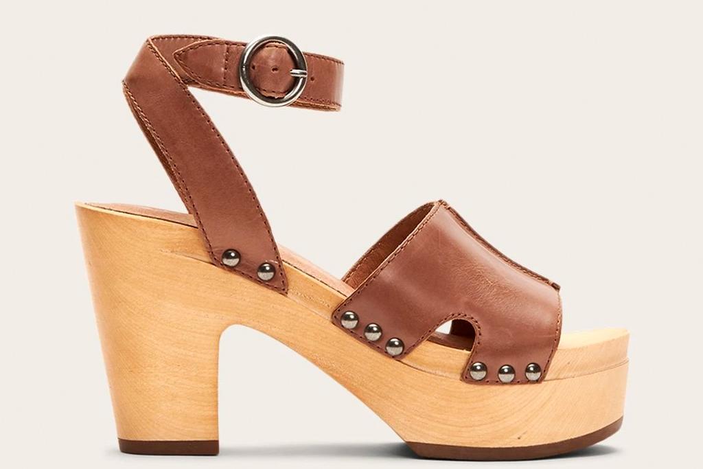 platform sandals, wood, frye