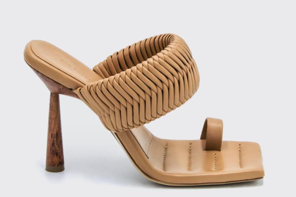 gia/rhw, woven toe ring slide sandals