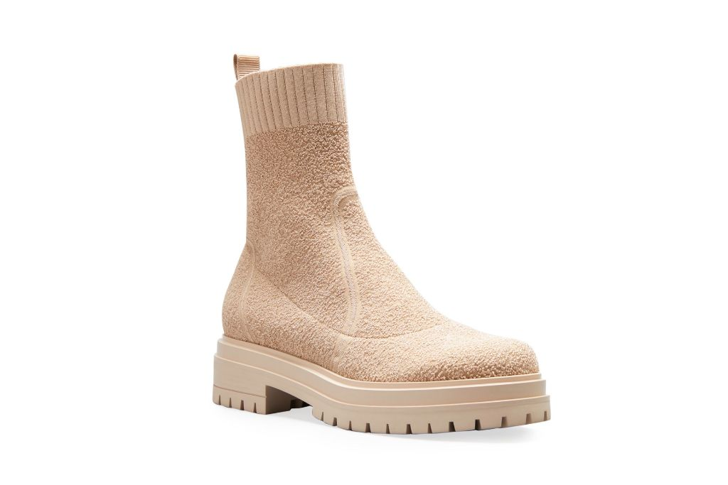 gianvito rossi, chester knit sock lug sole booties, tan booties