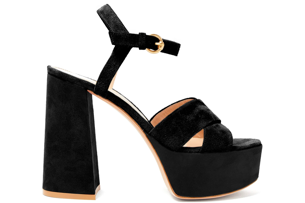 platform heels, sandals, black, gianvito rossi