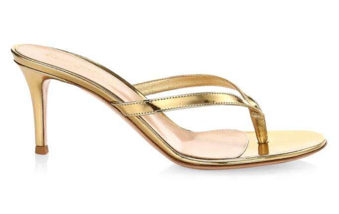 Gianvito Rossi Calypso Metallic Leather Thong Sandals, saks sale