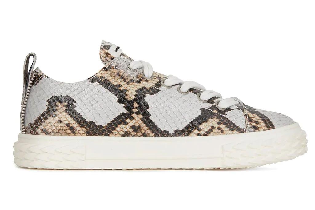snakeskin sneakers, python, giuseppe zanotti