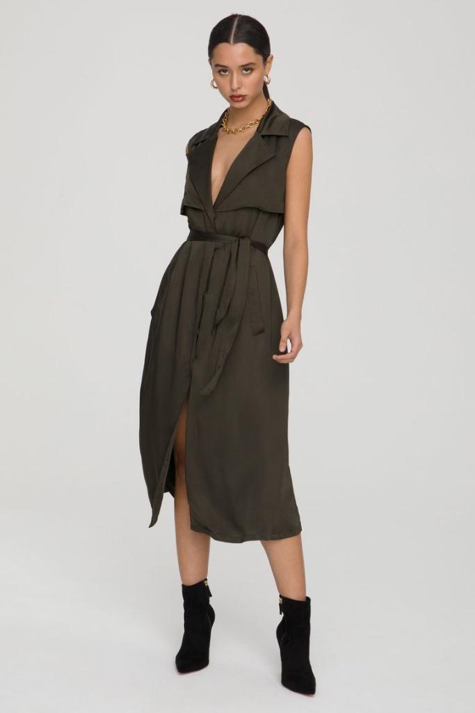 Good American Sleeveless Trench Dress, Good American sample sale