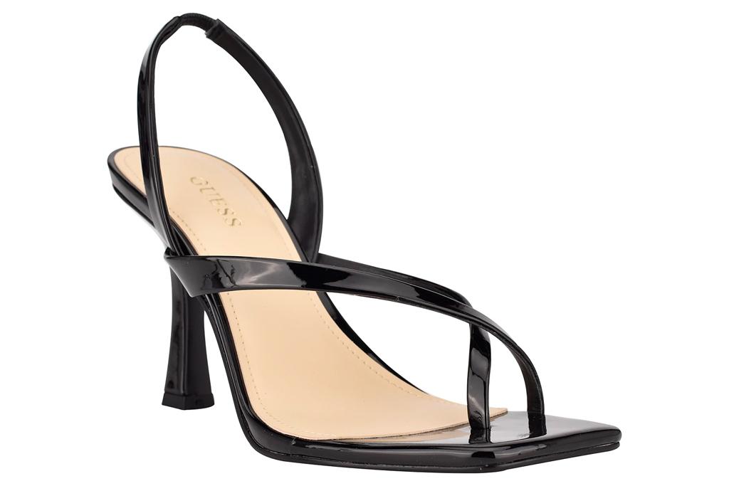 big toe sandals, black heels, guess