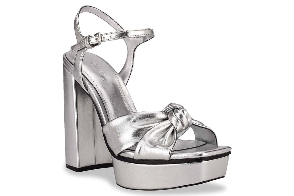 silver heels, platform, sandals, guess