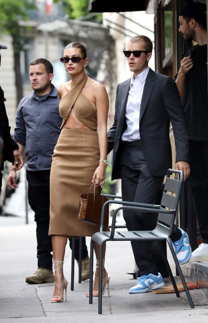 hailey baldwin, dress, cutout dress, heels, sandals, justin bieber, sneakers, date, lunch, paris, suit, sneakers