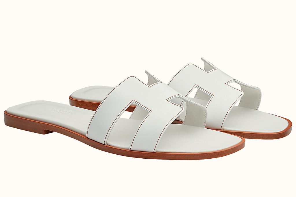 hermes, sandals, white, leather