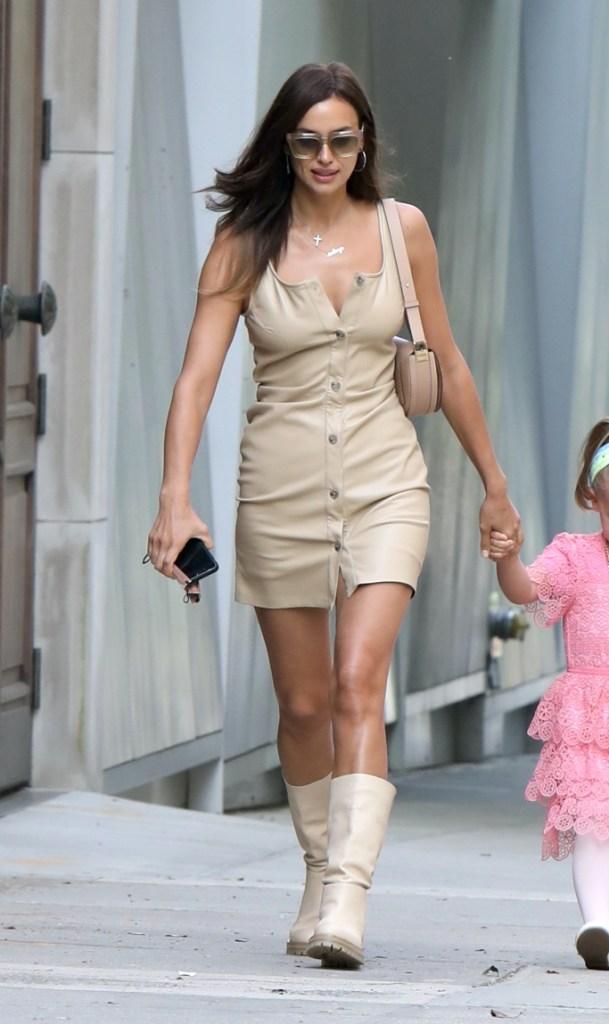 irina shayk, mini dress, boots, tamara mellon