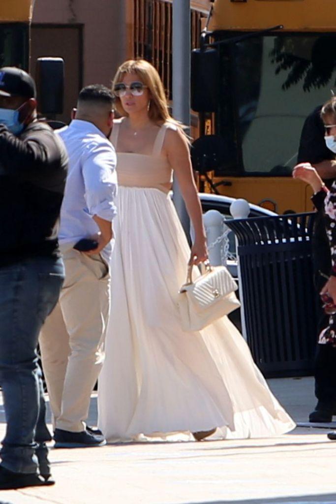 jennifer lopez, dress, cutout, dress, purse, school, necklace, heels, platforms, la, california