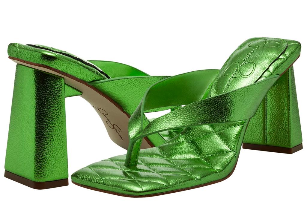 green sandals, heels, jessica simpson