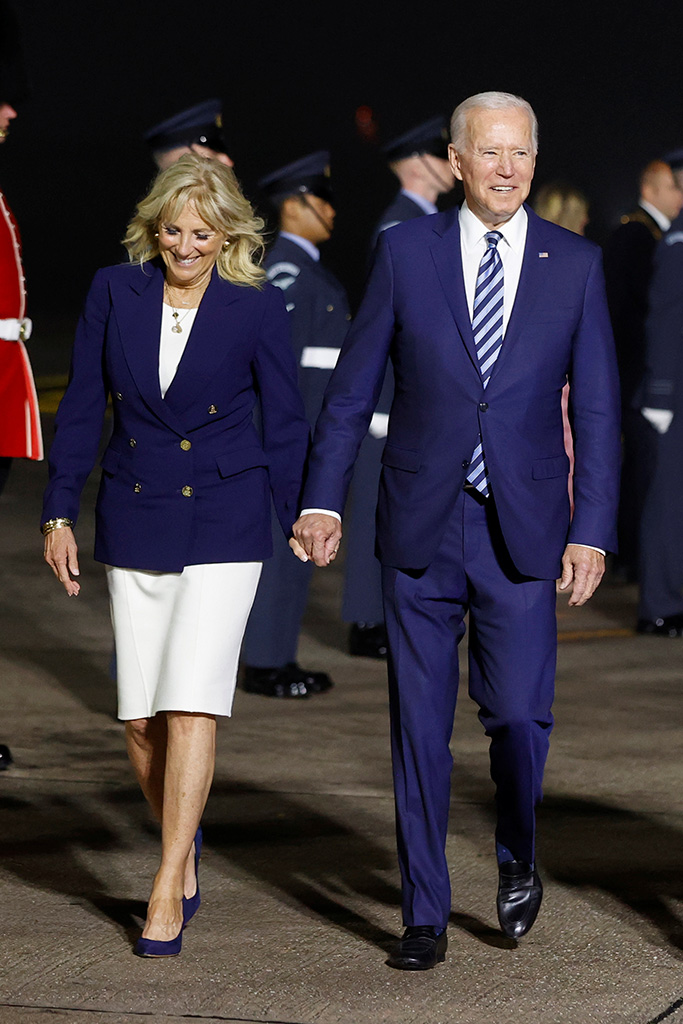 G7 Summit. US President Joe Biden and First Lady Jill Biden arrive on Air Force One at Cornwall Airport Newquay, near Newquay ahead of the G7 summit in Cornwall. Picture date: Wednesday June 9, 2021. See PA story POLITICS G7. Photo credit should read: Phil Noble/PA Wire URN:60274743 (Press Association via AP Images)