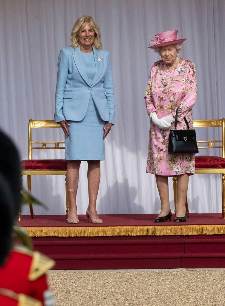 jill biden, blue suit, heels, queen elizabeth, windsor castle