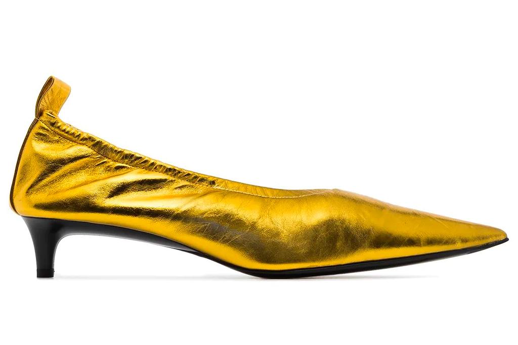 gold heels, pumps, jil sander