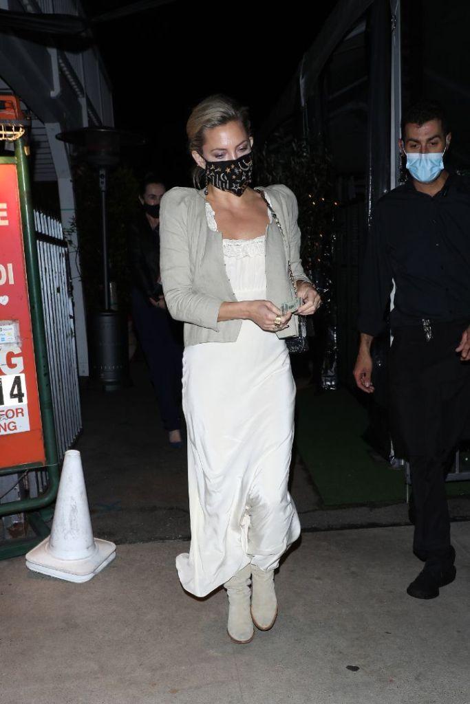 kate hudson, silk dress, slip dress, cardigan, boots, mask, dinner, date, la, calif