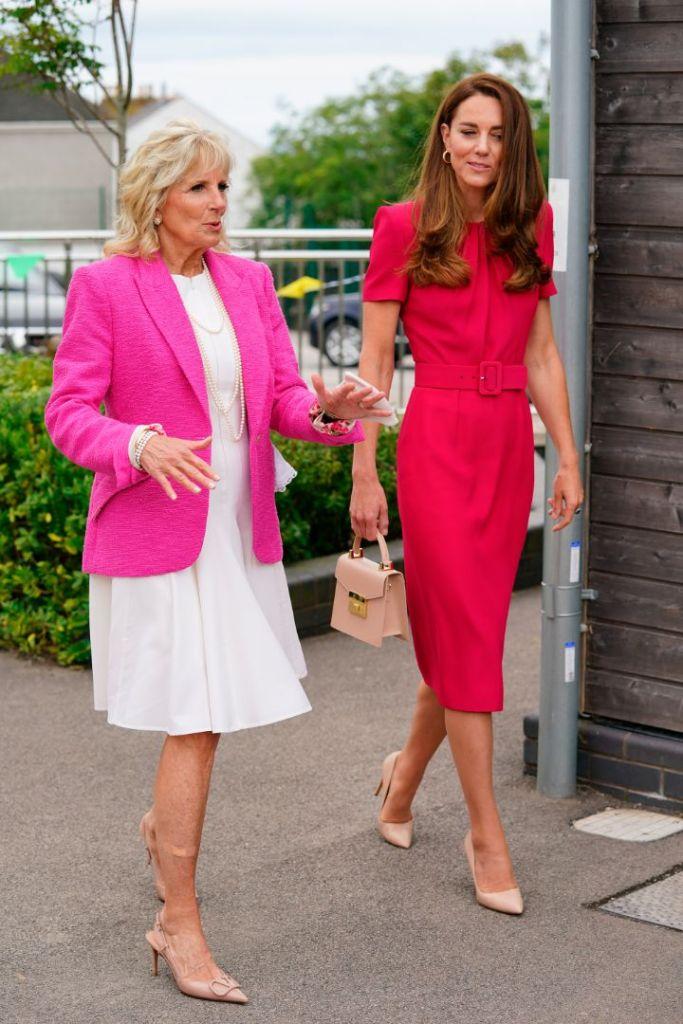 kate middleton, dress, red dress, heels, jill biden, pink blazer, white dress, valentino, uk, england, summit