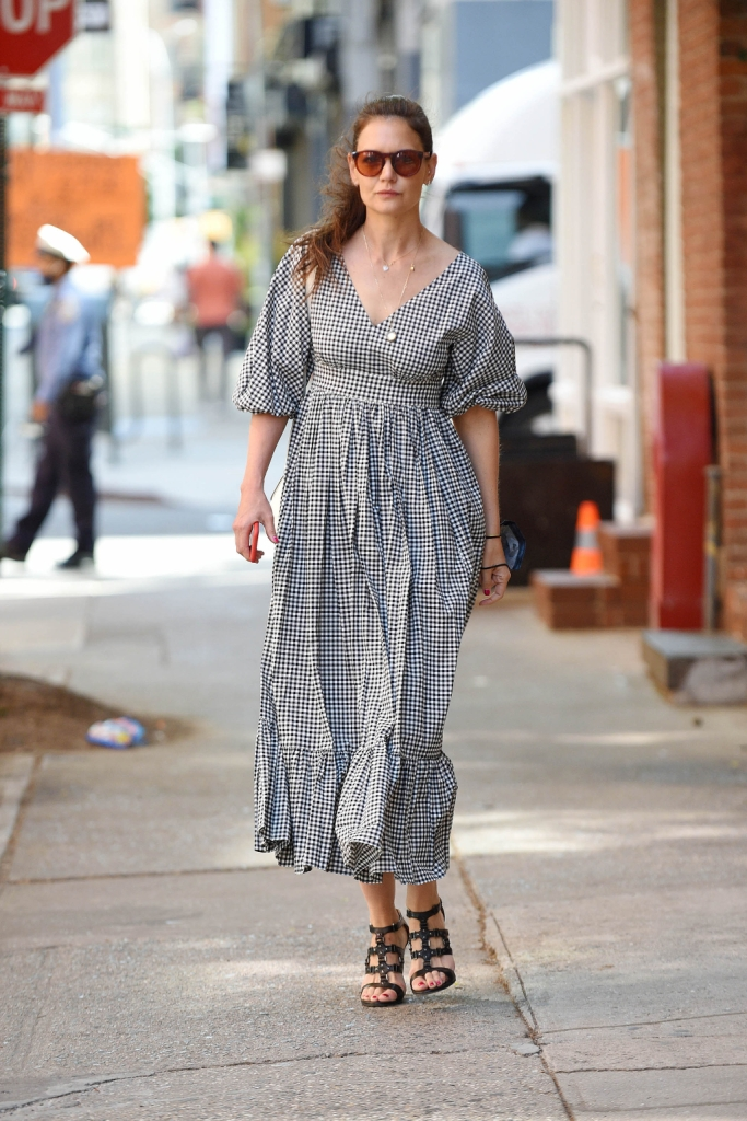 kate spade, checked dress, sandals, nyc