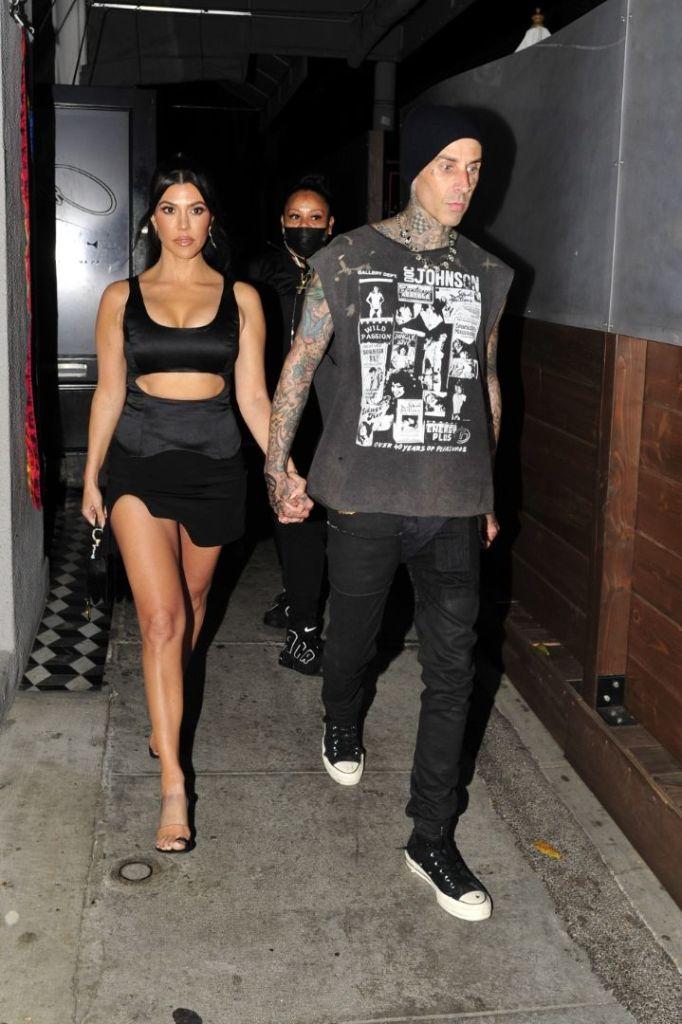kourtney kardashian, cutout dress, dress, minidress, skirt, heels, big toe sandals, see-through heels, purse, date, travis barker, la
