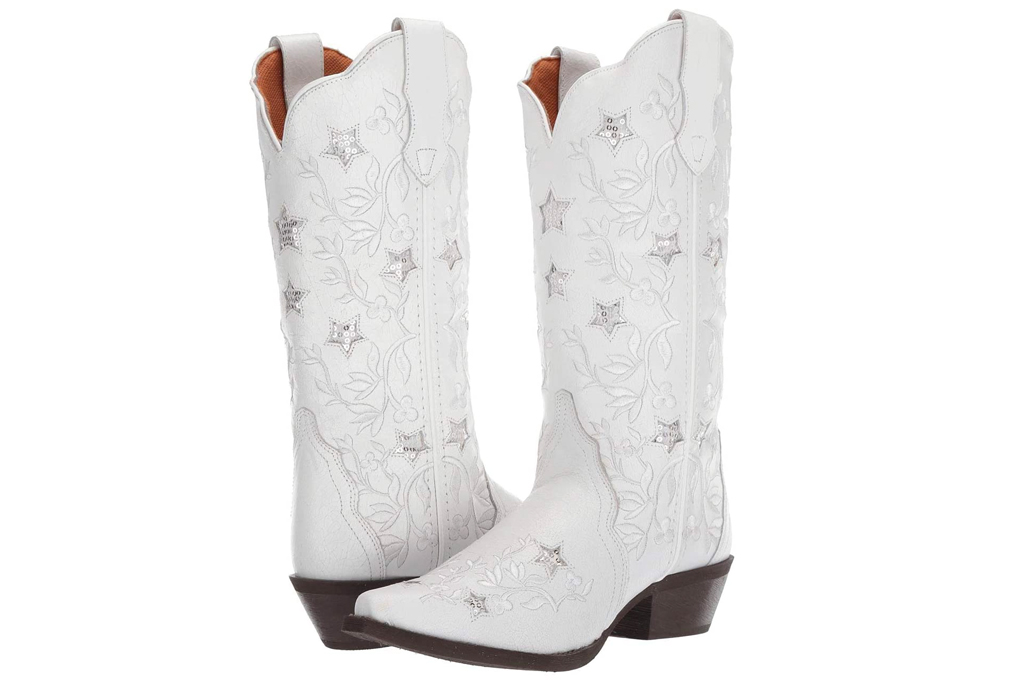 white boots, cowboy boots, laredo