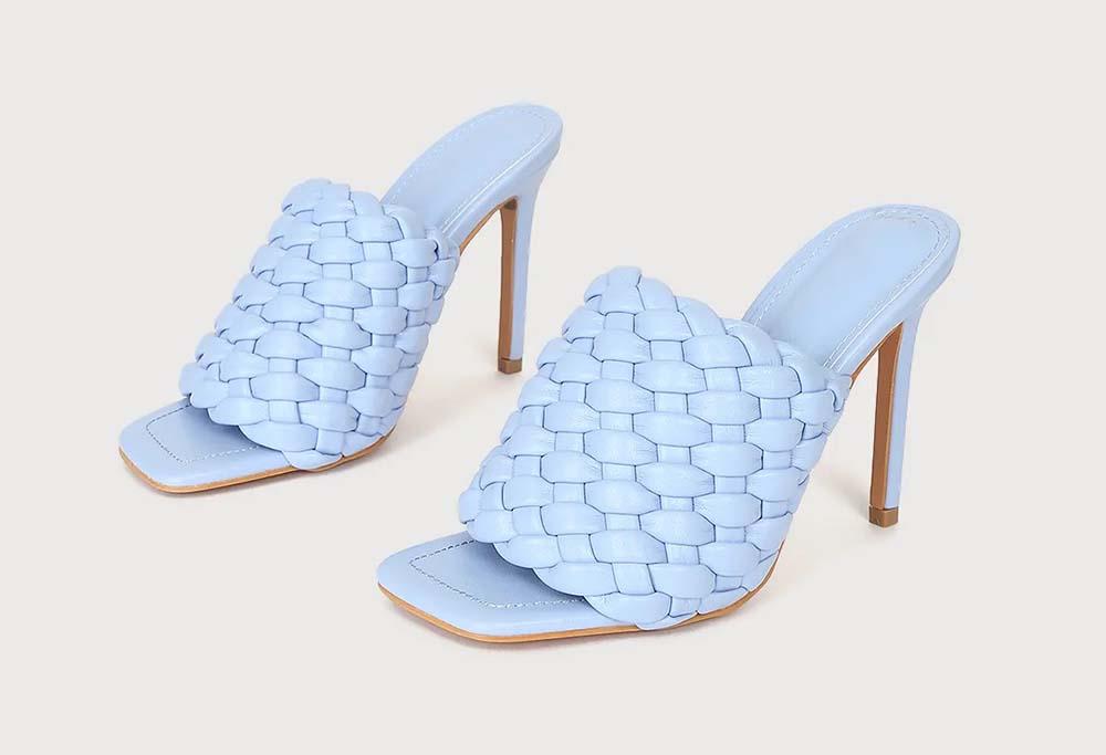 Rianna Blue Woven High Heel Sandals