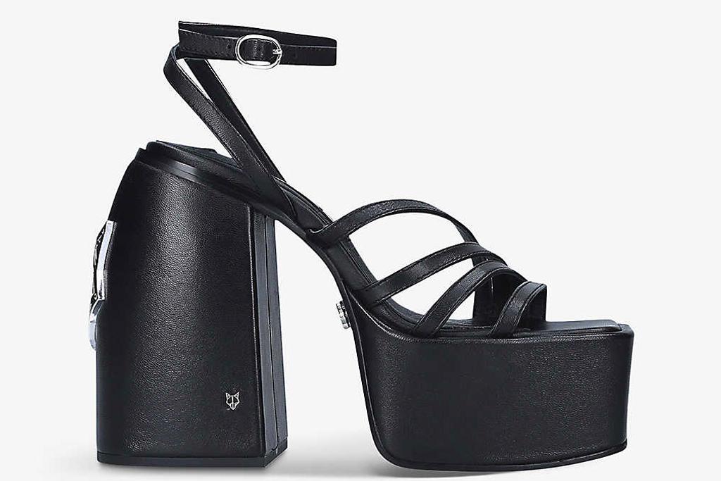 black sandals, platforms, naked wolfe