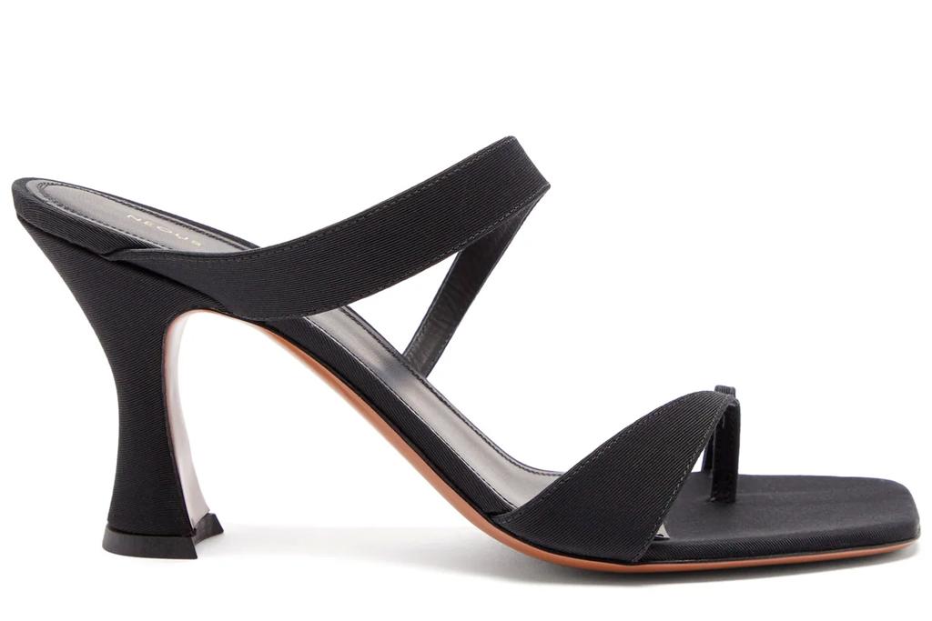 black mules, square toe, double strap, neous