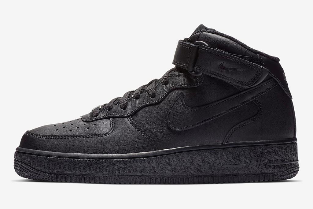 nike air force, boot, sneaker, mid, black