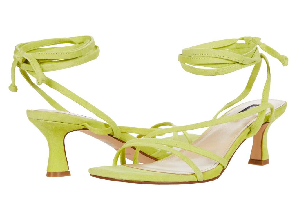 yellow heels, sandals, nine west