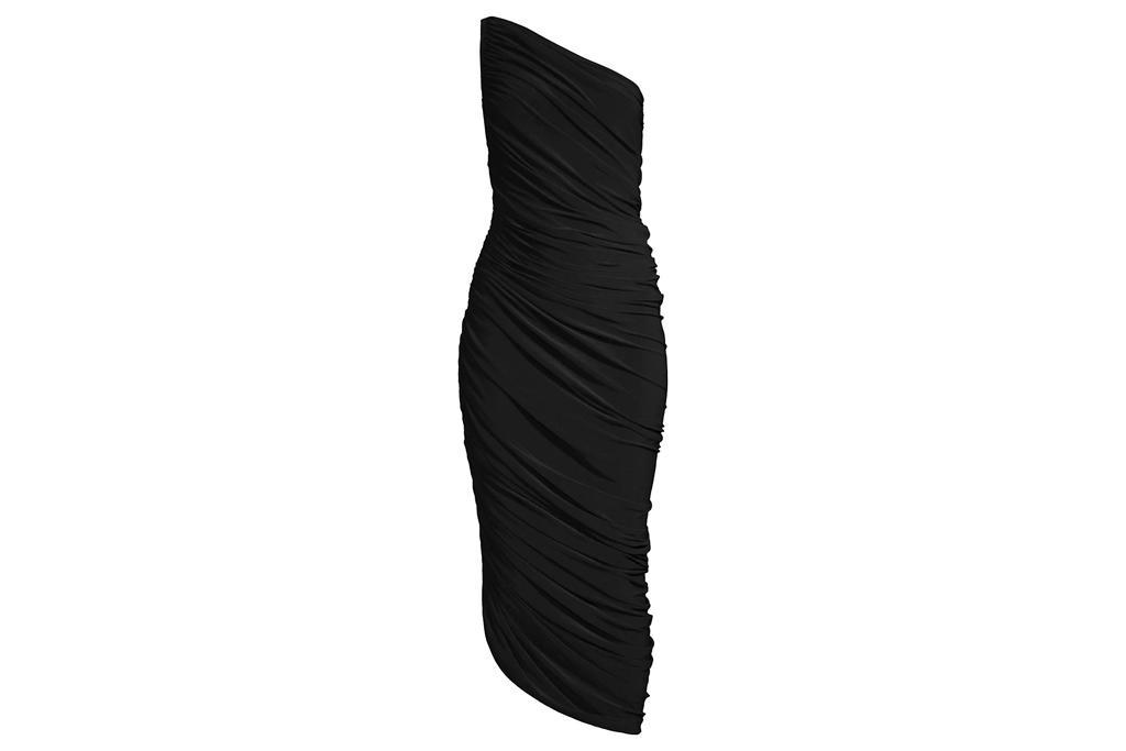 dress, one-shoulder, black, norma kamali