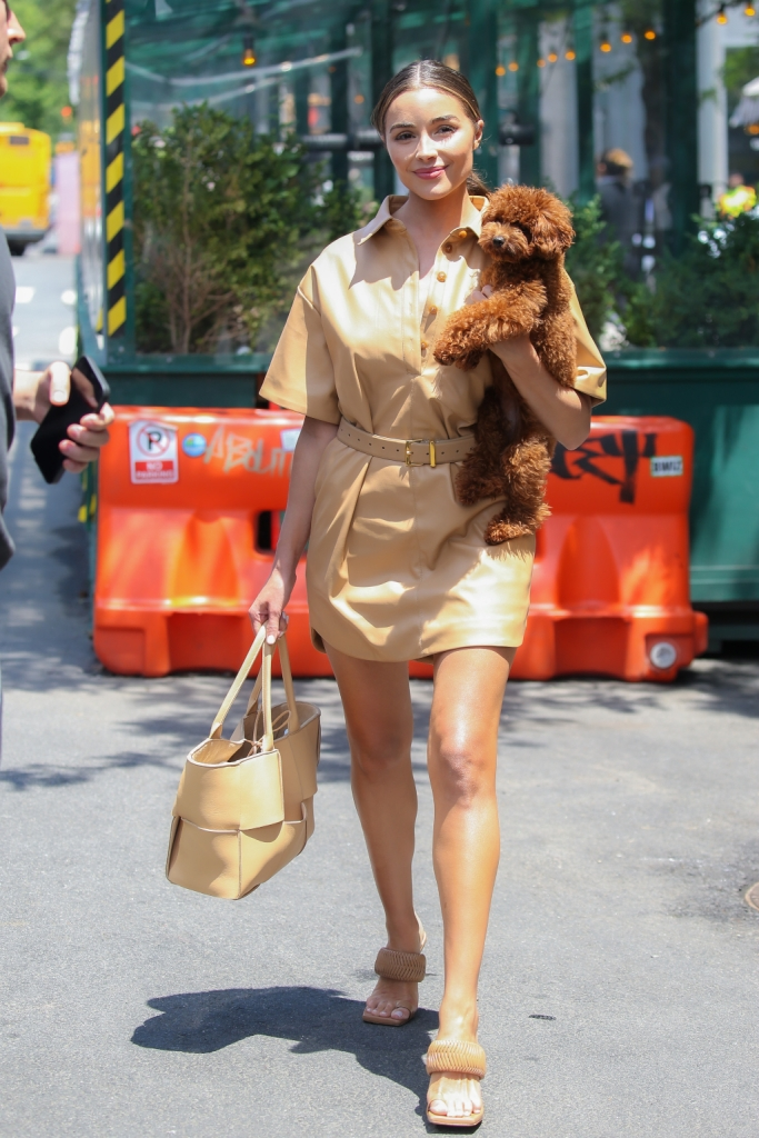 olivia culpo, leather dress, sandals, nyc