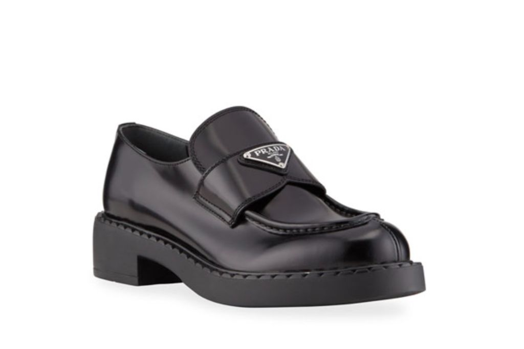 prada, leather loafers, black shoes