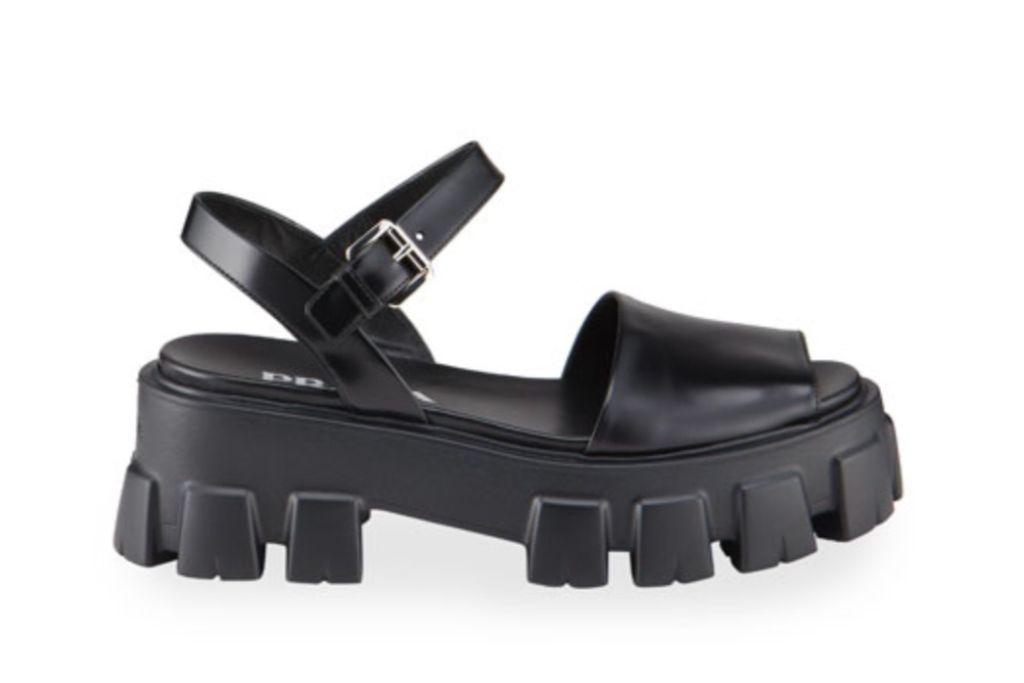 prada, leather lug sole sandals, ugly sandals