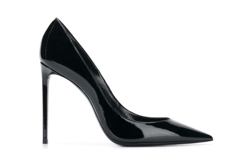 saint laurent, zoe patent leather pumps, black heels