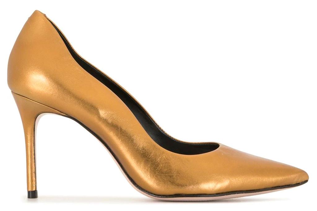 gold heels, pumps, schutz