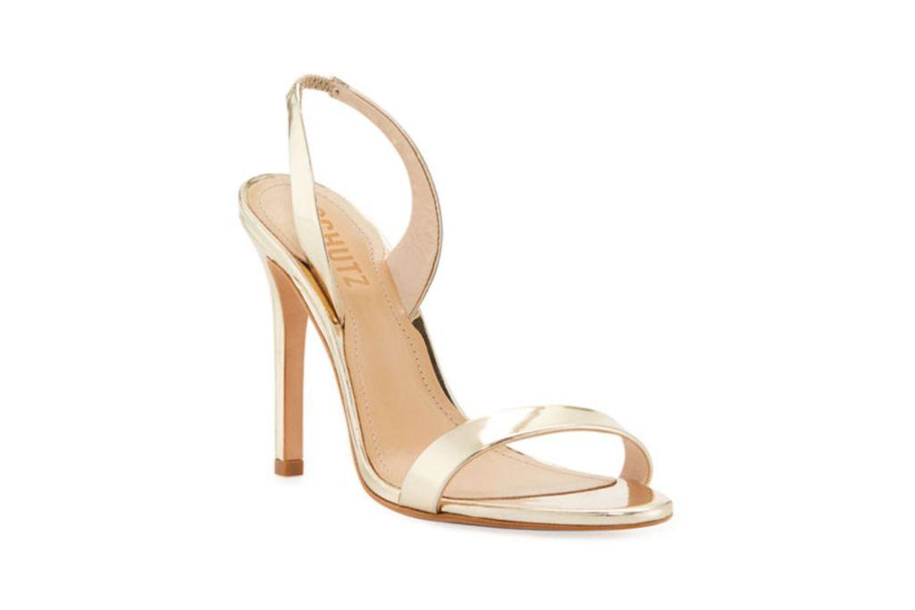 schutz, luraine heels, gold sandals