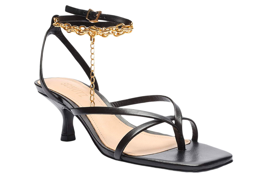 black sandals, heels, thong toe, schutz