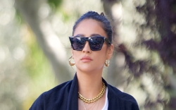 shay mitchell, crop top, shorts, duster,
