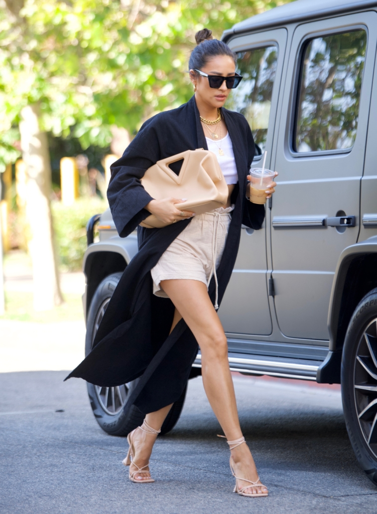 shay mitchell, top, shorts, duster, heels