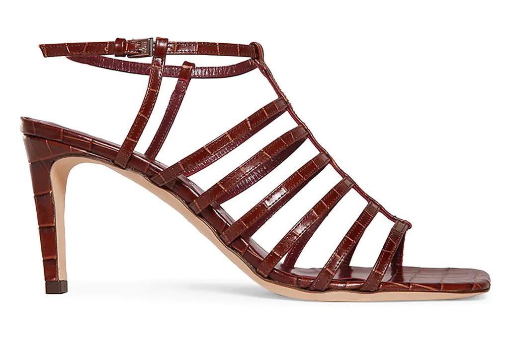 brown heels, strappy, staud