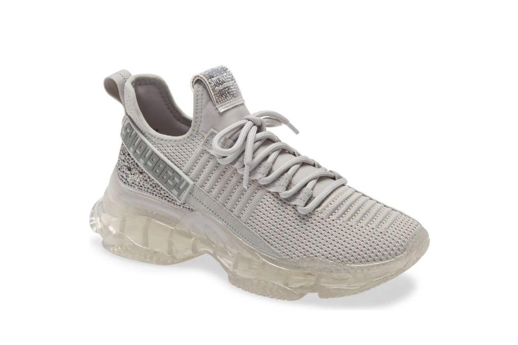 steve madden, maxima knit sneaker, gray sneakers