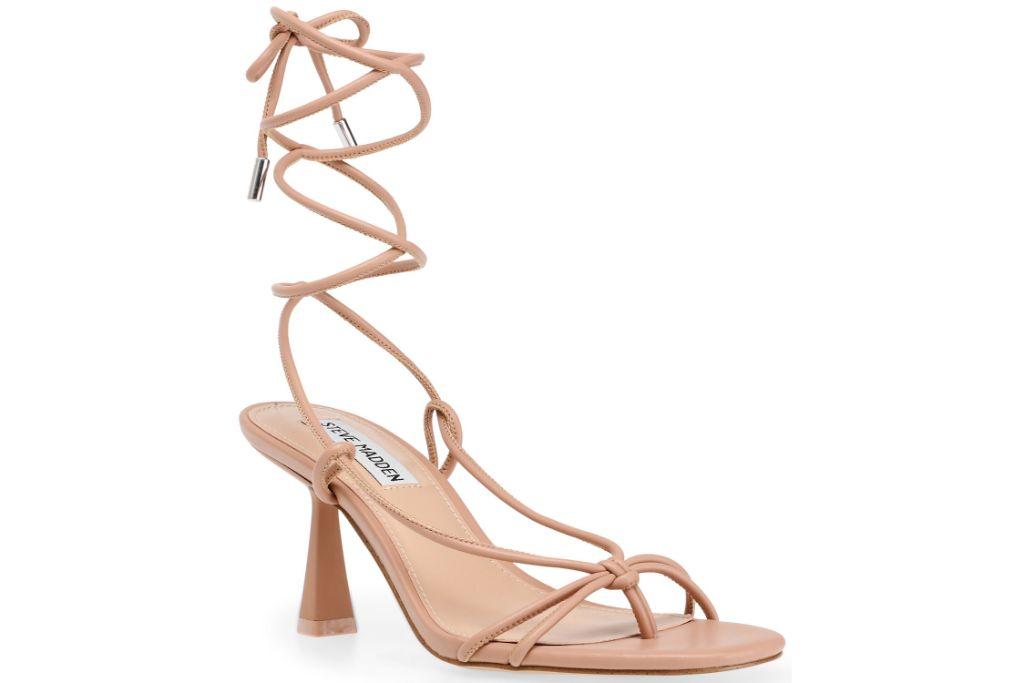 steve madden, tie sandals, nude strappy sandals