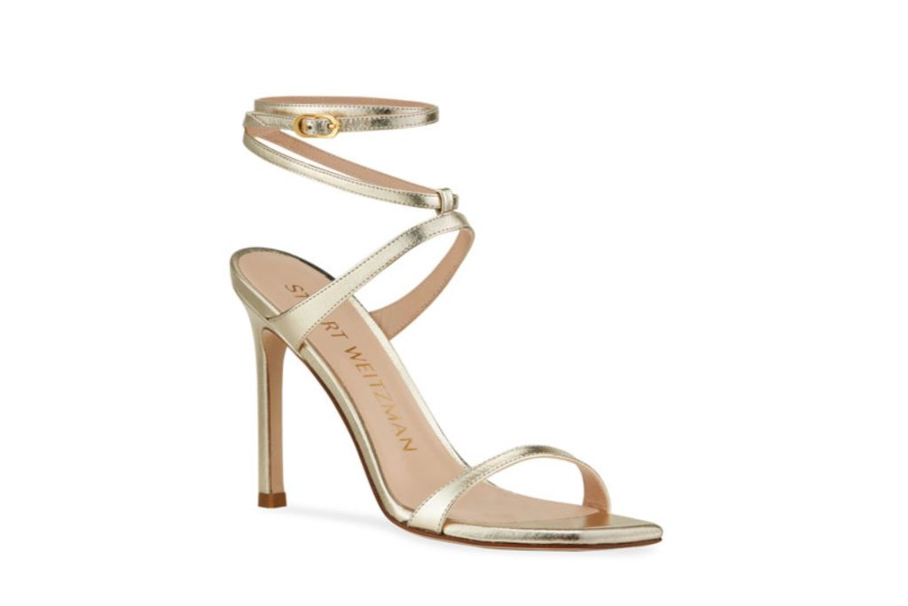 stuart weitzman, strappy sandals, gold sandal heels