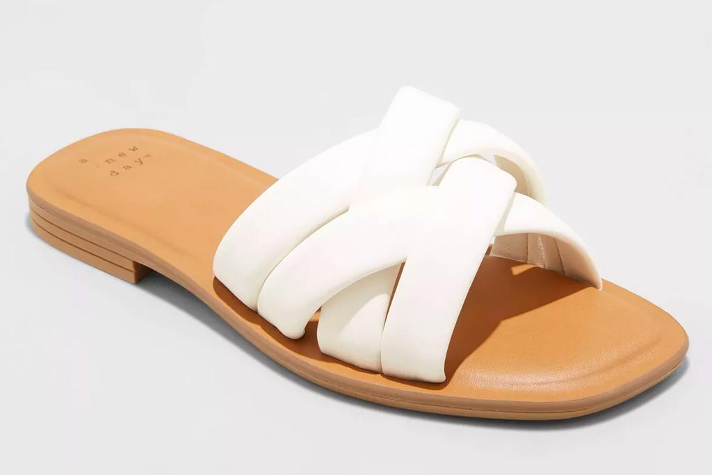 white sandals, tan, slides, target
