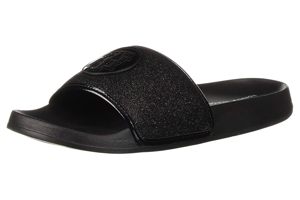 black slides, sandals, tommy hilfiger
