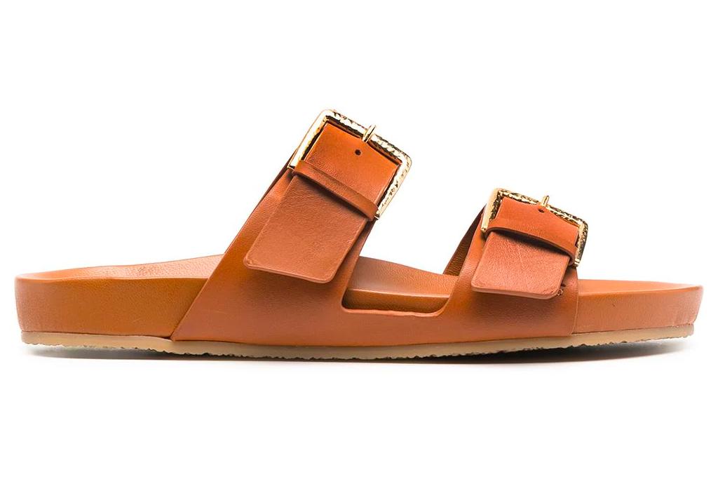 sandals, tan, slides, double strap, ulla johnson