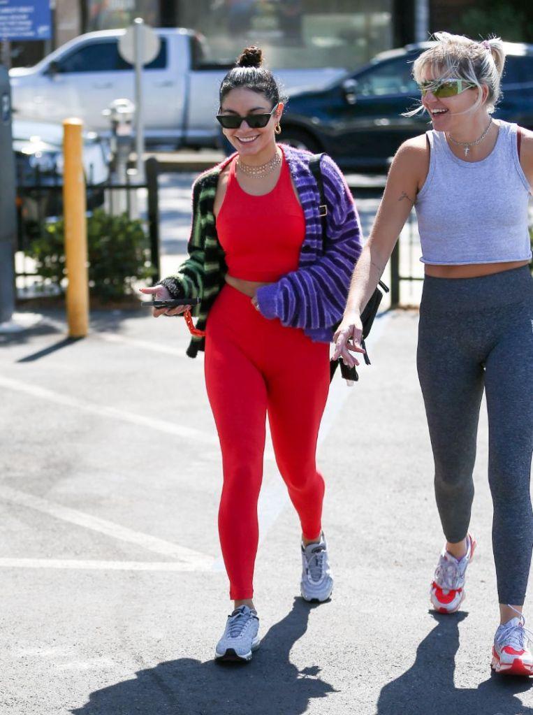 vanessa hudgens, leggings, sports bra, sneakers, nike, red, air max, sweater, gym, workout, la