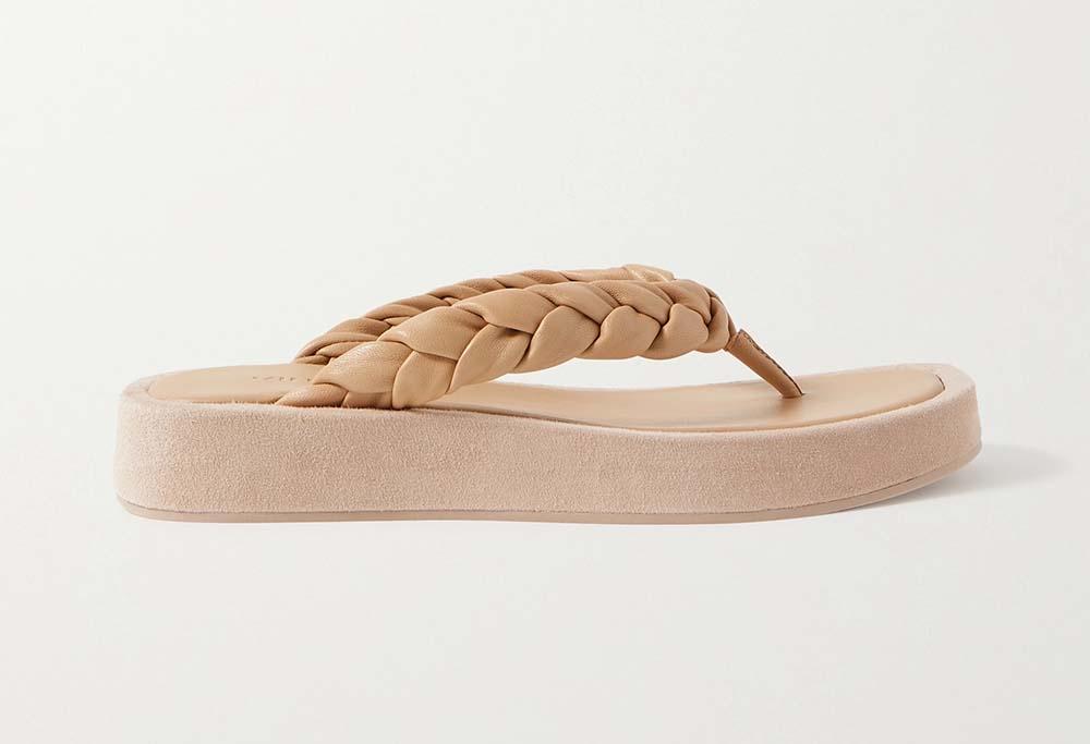 Nita braided leather and suede platform flip flops