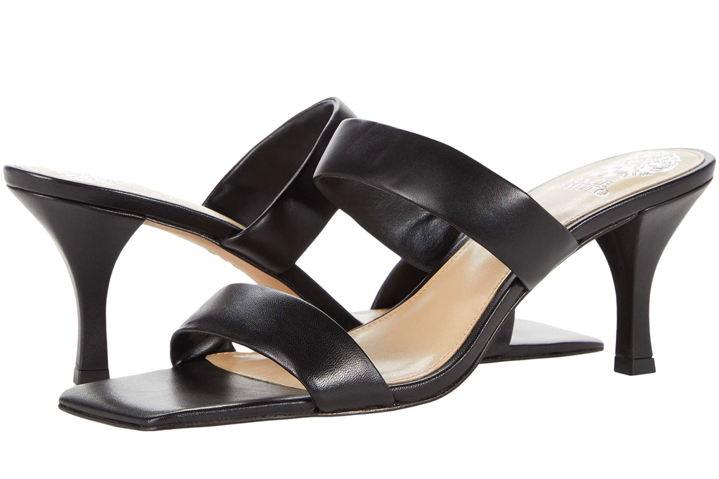 black mules, square toe, double strap, vince camuto