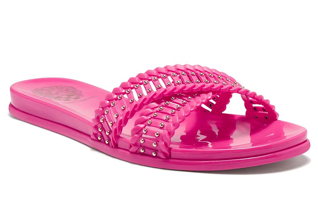 pink sandals, hot pink slides, vince camuto