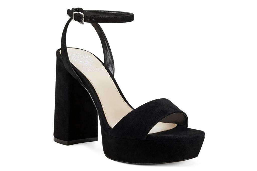 platform heels, sandals, black, vince camuto